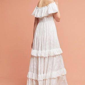 Anthropologie Dresses - anthropologie white long ruffle dress